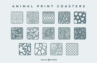 Posavasos cuadrado animal print