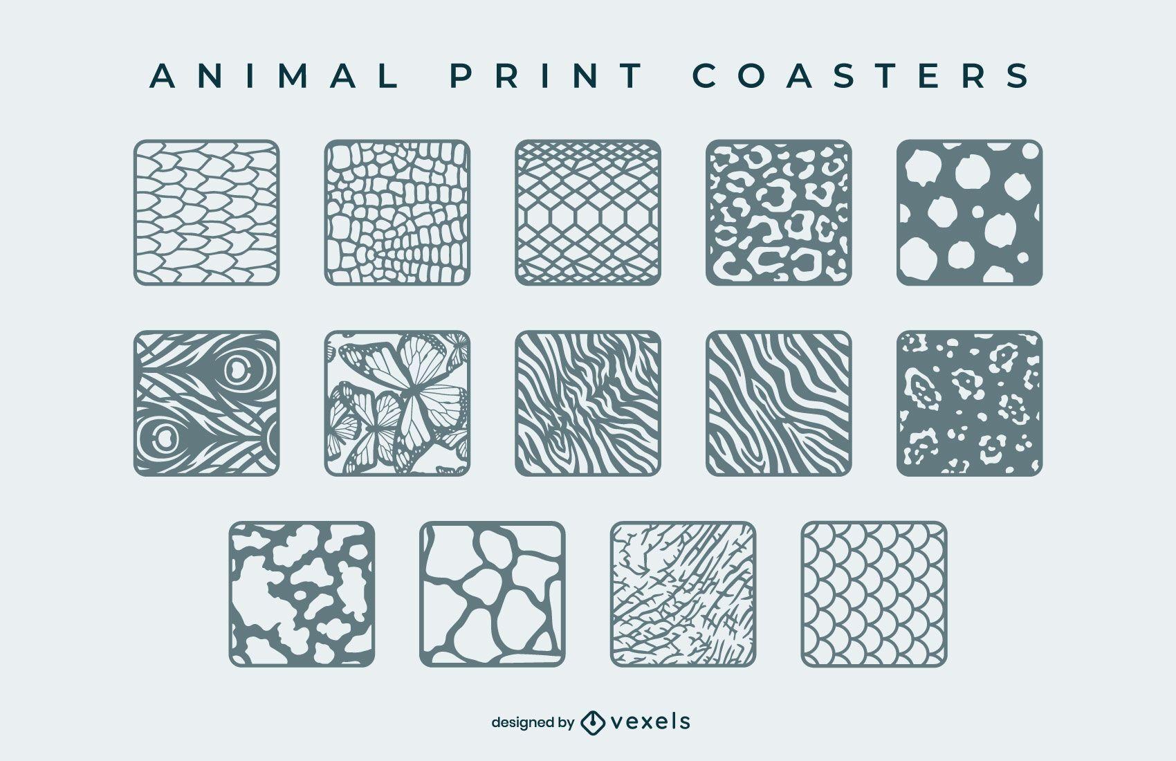 Animal print square coaster set