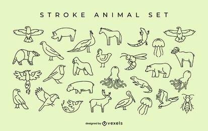 Conjunto simples de braçadas de animais