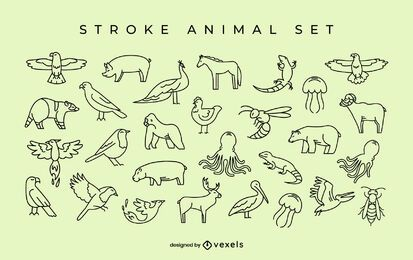 Simple animal stroke set