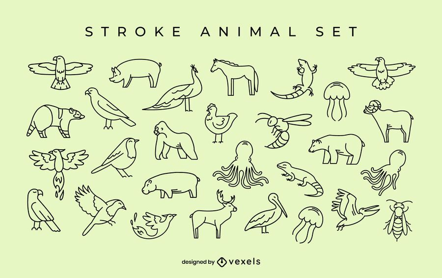 Simple animal stroke set