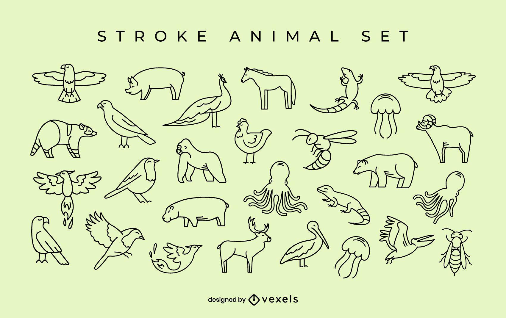Conjunto de trazo animal simple