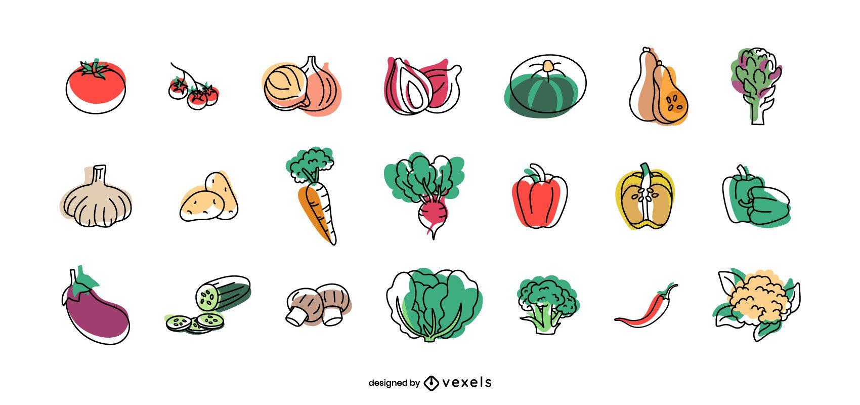 Fruits and vegetables set design