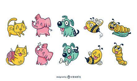 Lindo conjunto de dibujos animados de animales e insectos