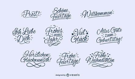 Conjunto alemão de letras de felicidades