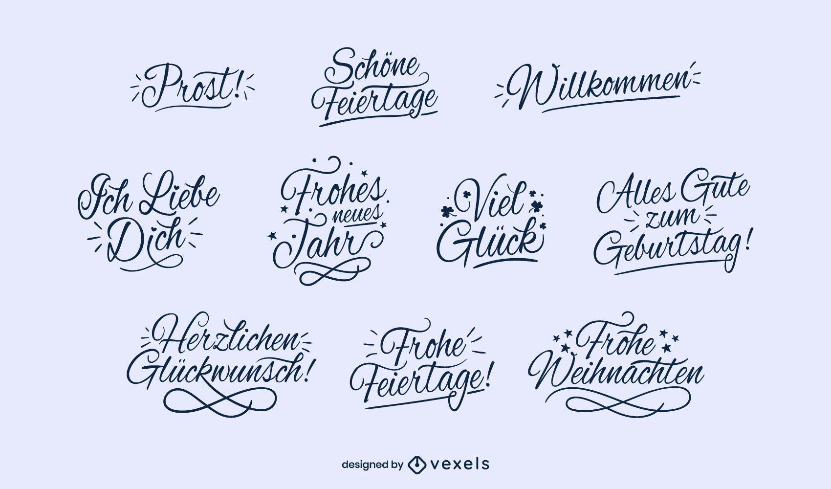 Conjunto de letras de buenos deseos alemanes