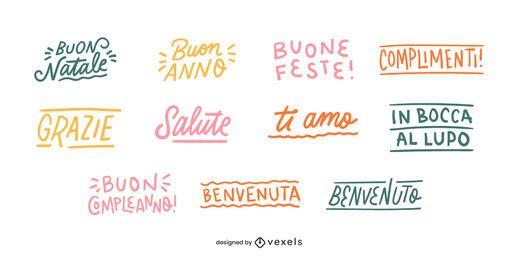 Italian good wishes lettering set