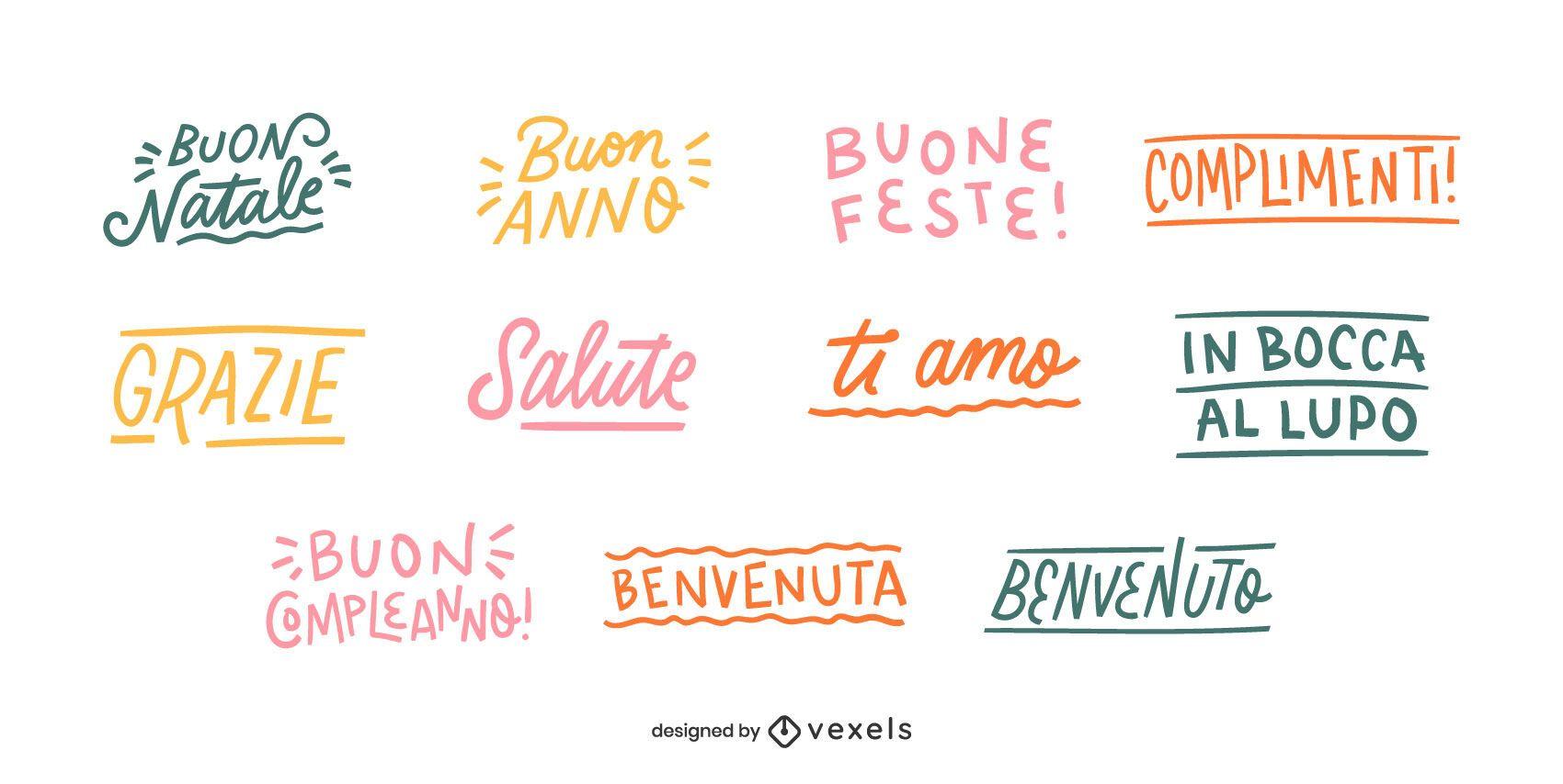 Conjunto de letras de buenos deseos italianos
