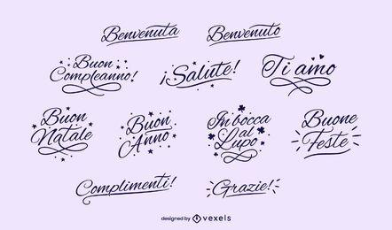 Conjunto de letras pretas italianas