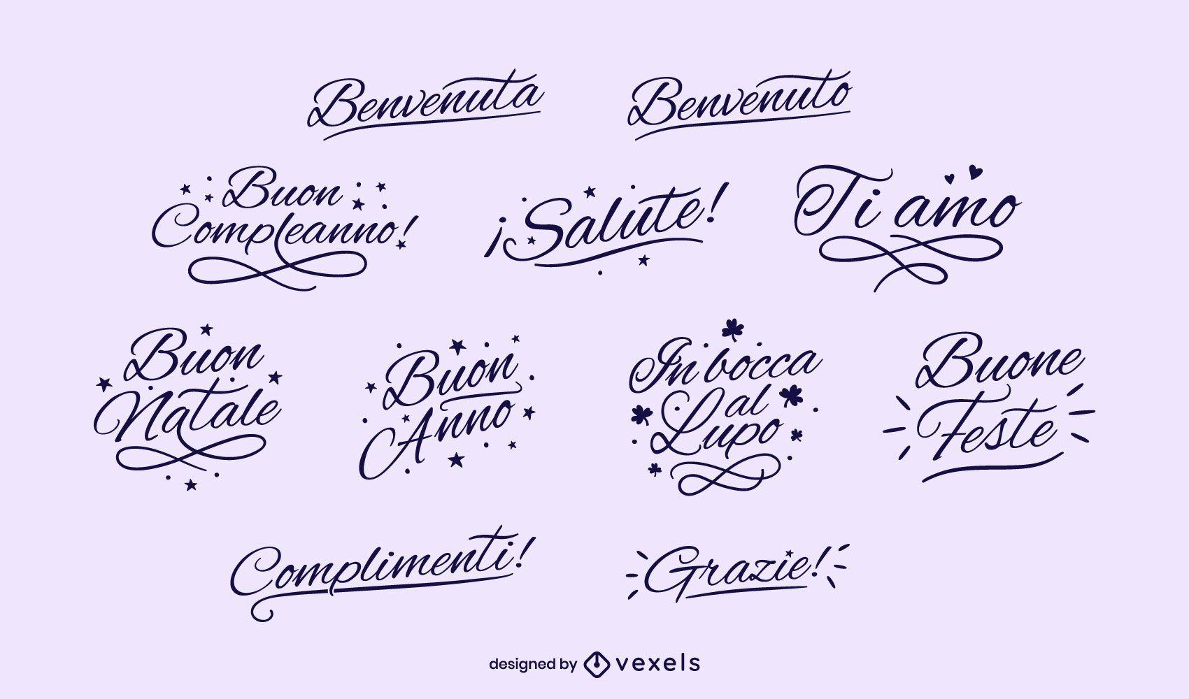 Conjunto de letras negras italianas