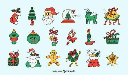 Conjunto engraçado de desenhos animados de Natal