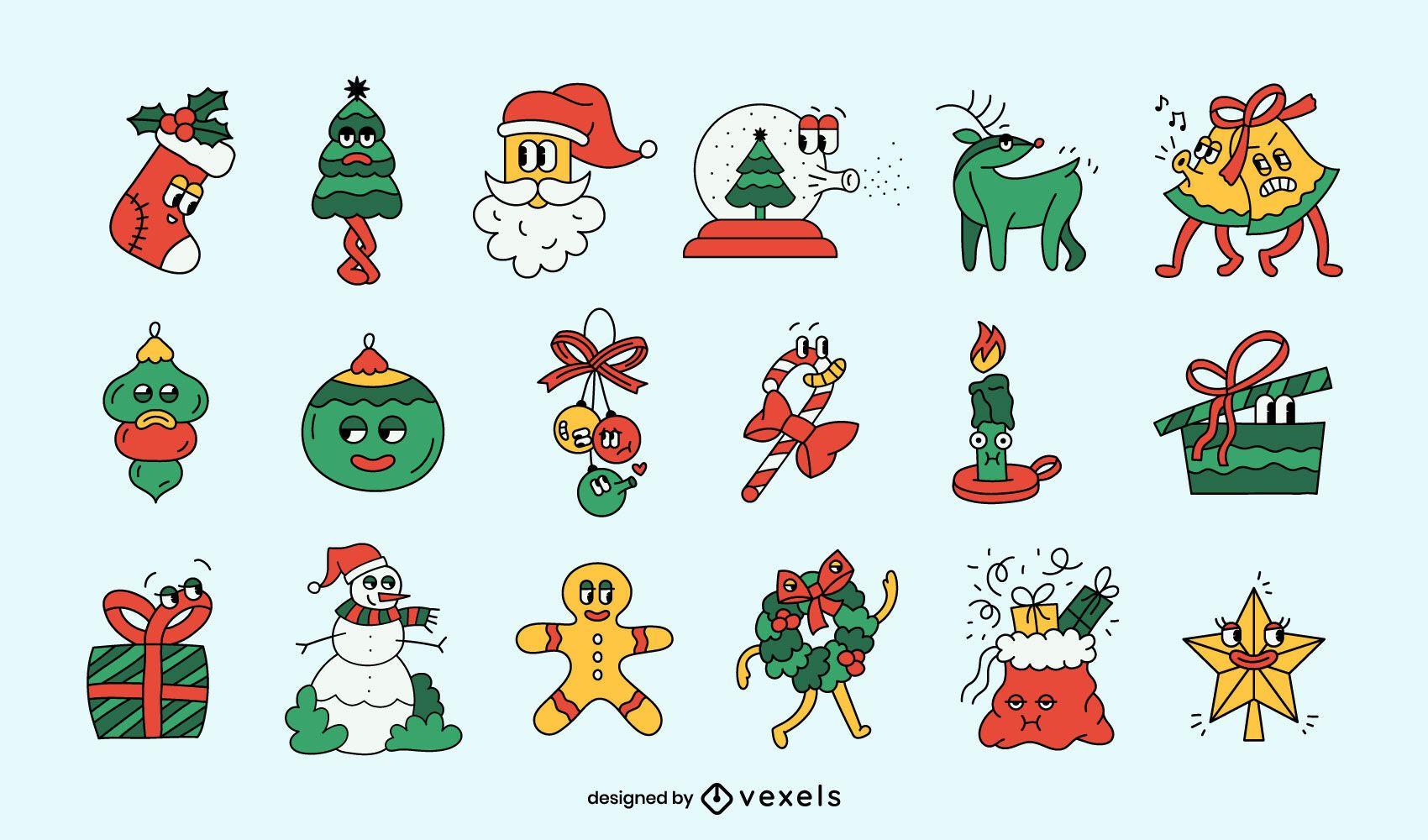 Funny Christmas cartoon set