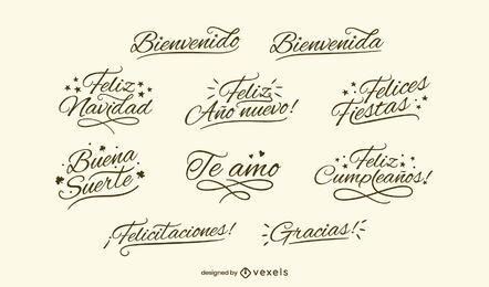 Conjunto de letras pretas espanholas