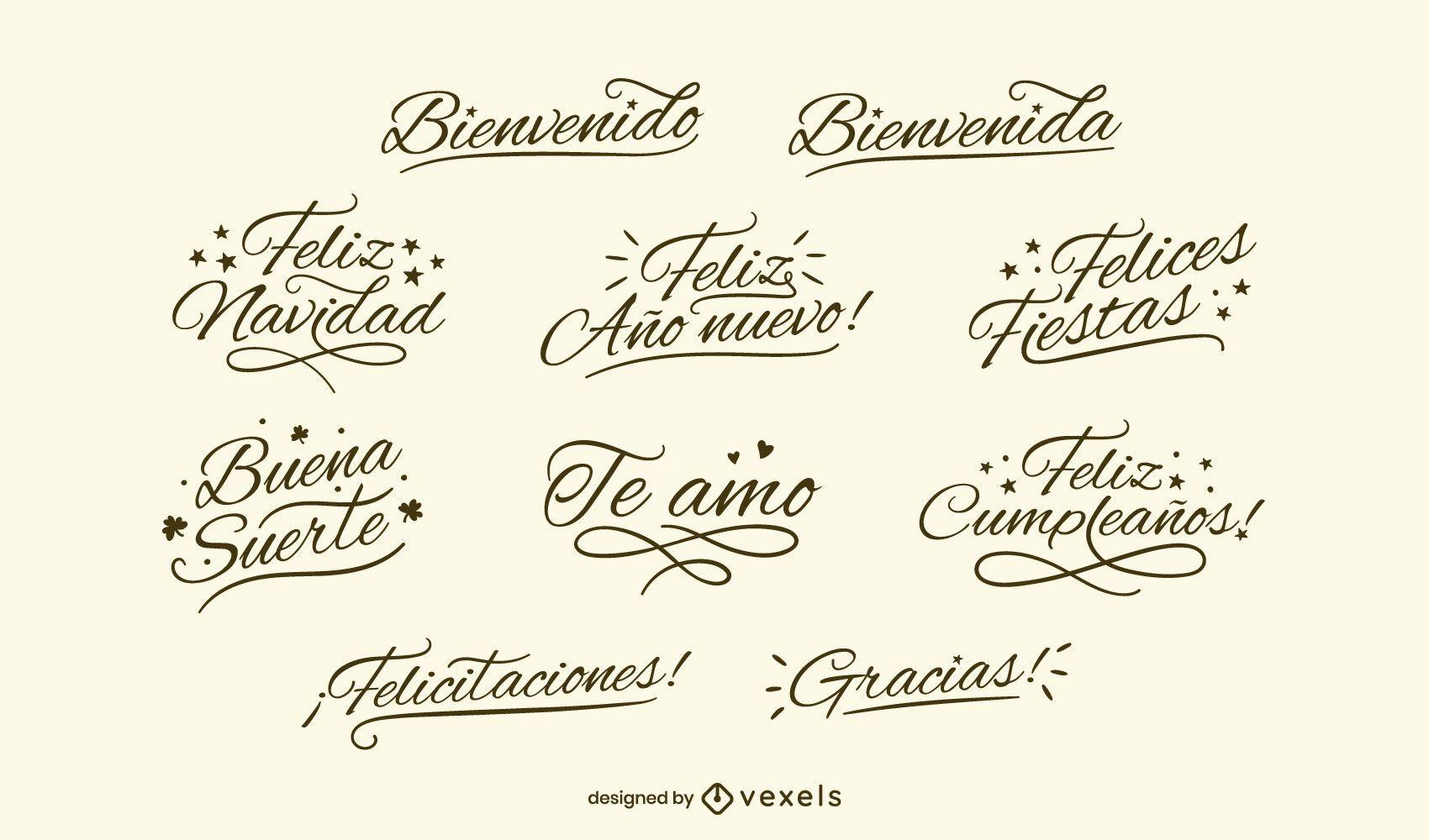 Conjunto de letras negras españolas