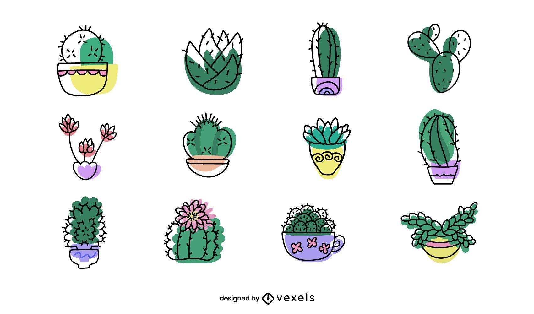 Conjunto de diseño de plantas suculentas.