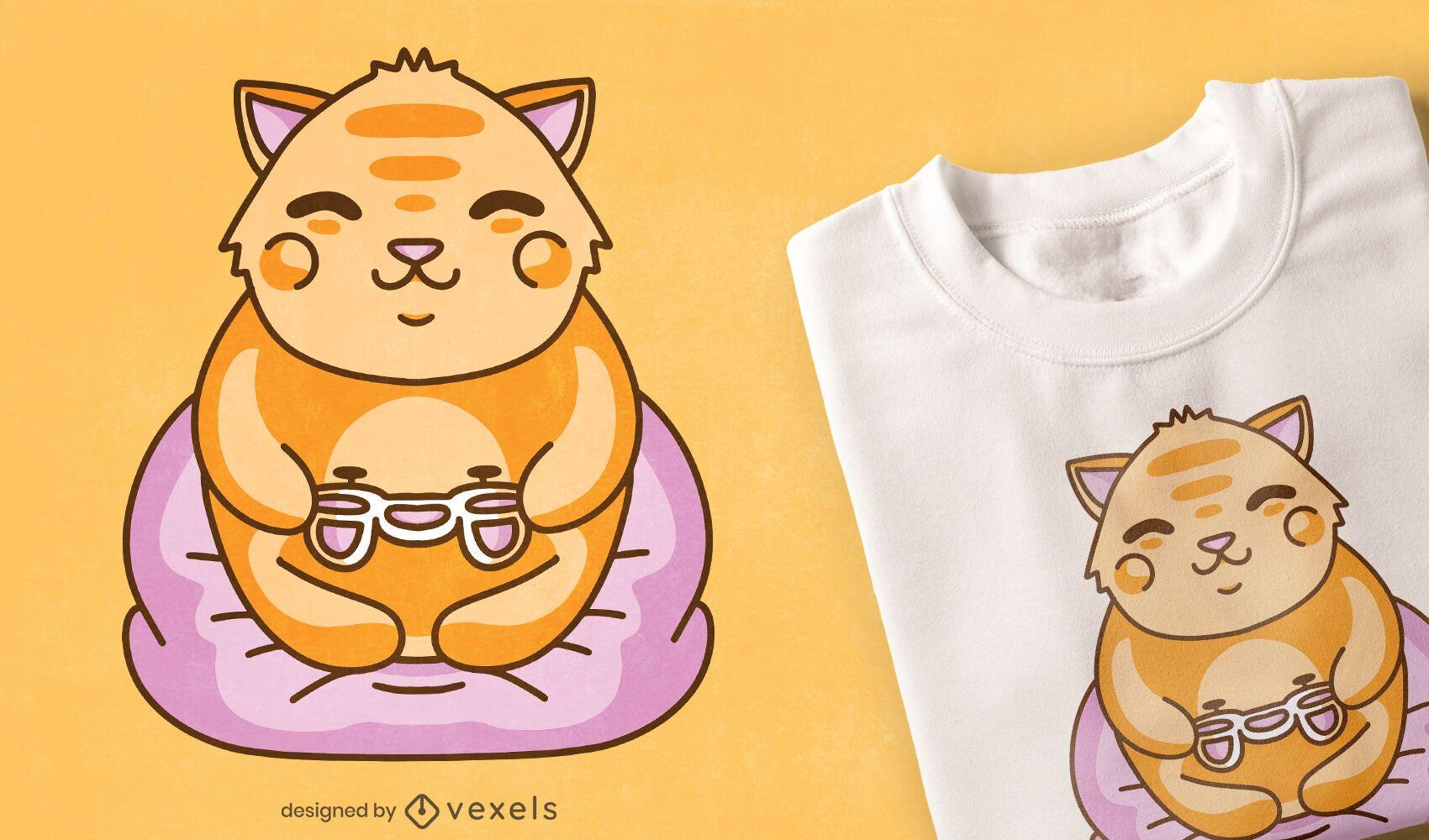 Diseño de camiseta kawaii gaming cat.
