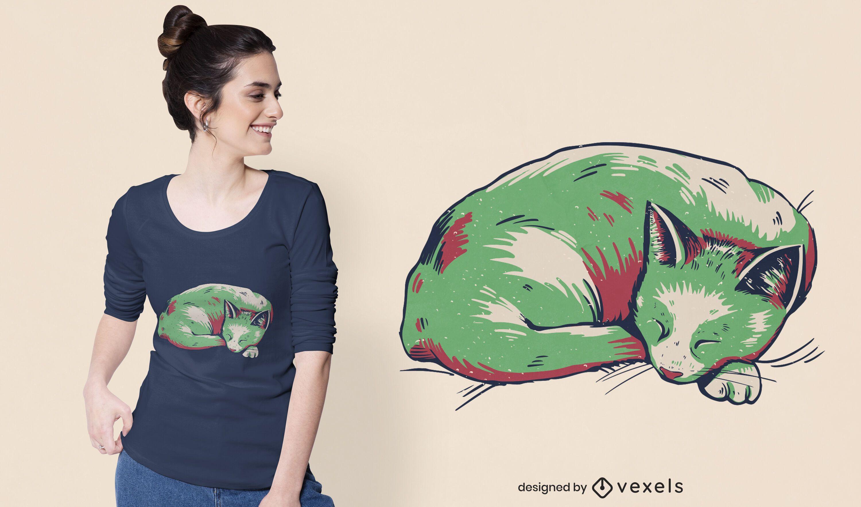Duotone sleeping cat t-shirt design