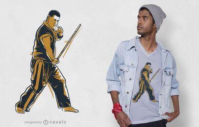 Diseño de camiseta de hombre de artes marciales.