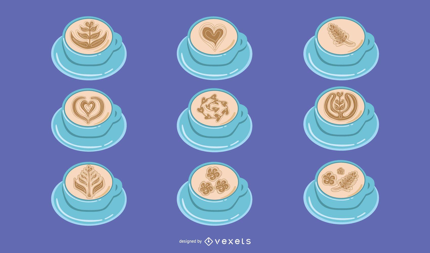 Latte art illustration set