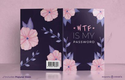 Diseño de portada de libro de contraseña floral