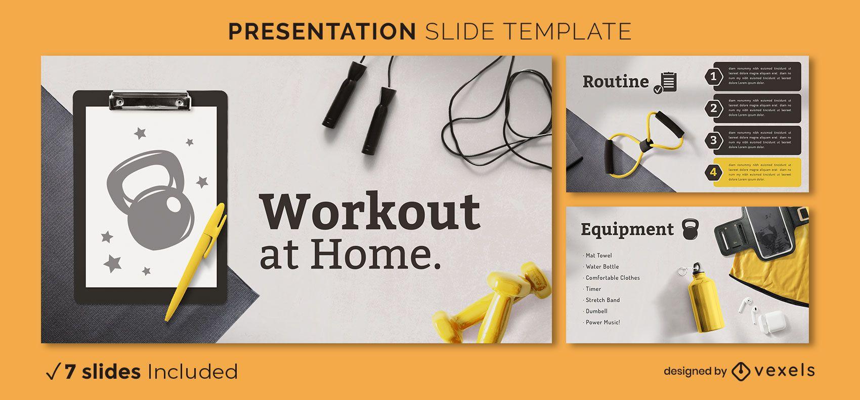 Workout zu Hause Präsentationsvorlage