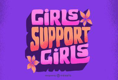 Las niñas apoyan a las niñas letras retro