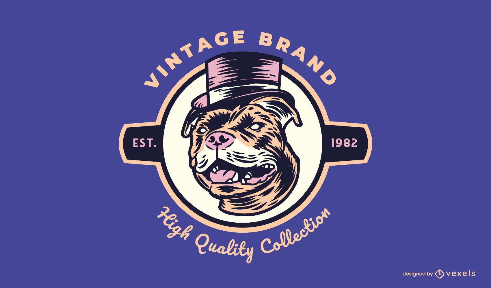 Plantilla de logotipo de pitbull vintage