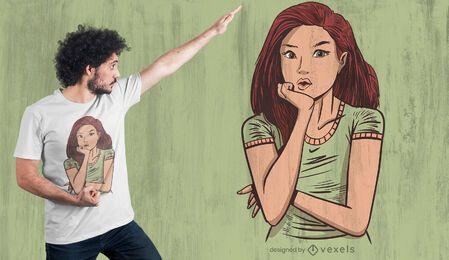 Design de camiseta de menina pensando