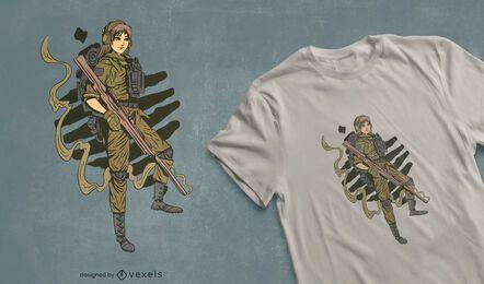 Diseño de camiseta mujer soldado