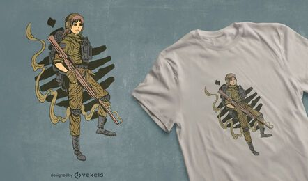 Female soldier t-shirt design
