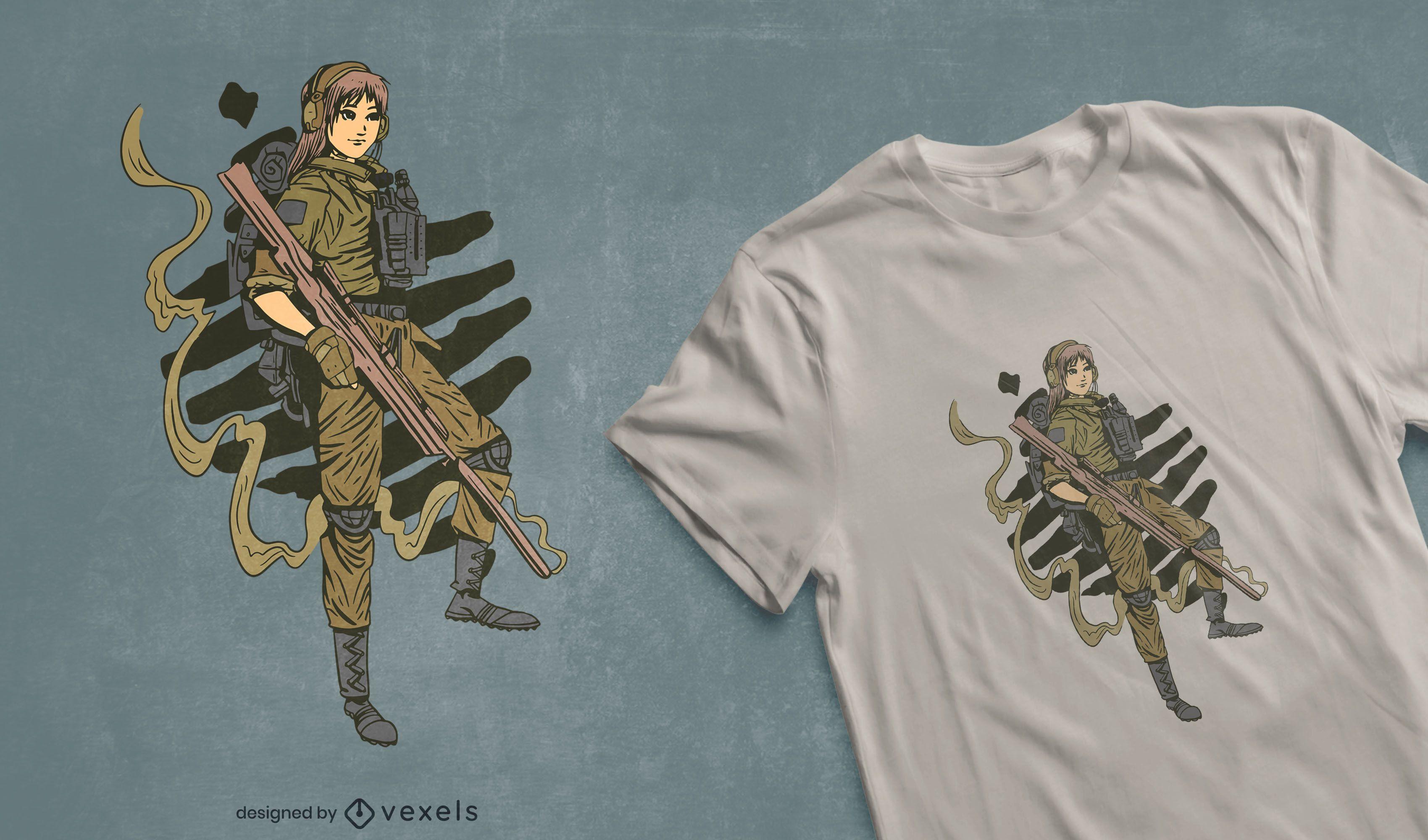 Female soldier t-shirt design