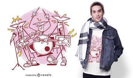 Diseño de camiseta de la banda de rock de tornillos.