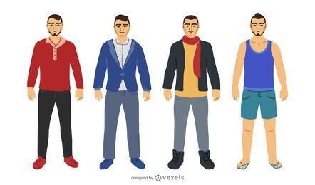 Diseño de conjunto plano de traje de hombre