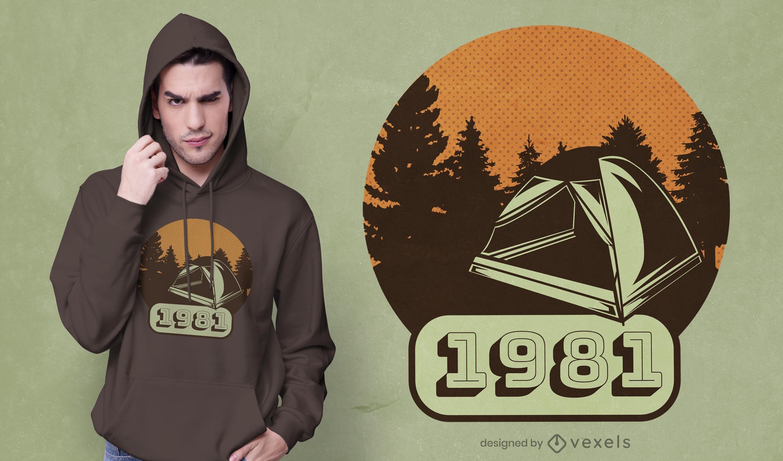Diseño de camiseta vintage de camping.