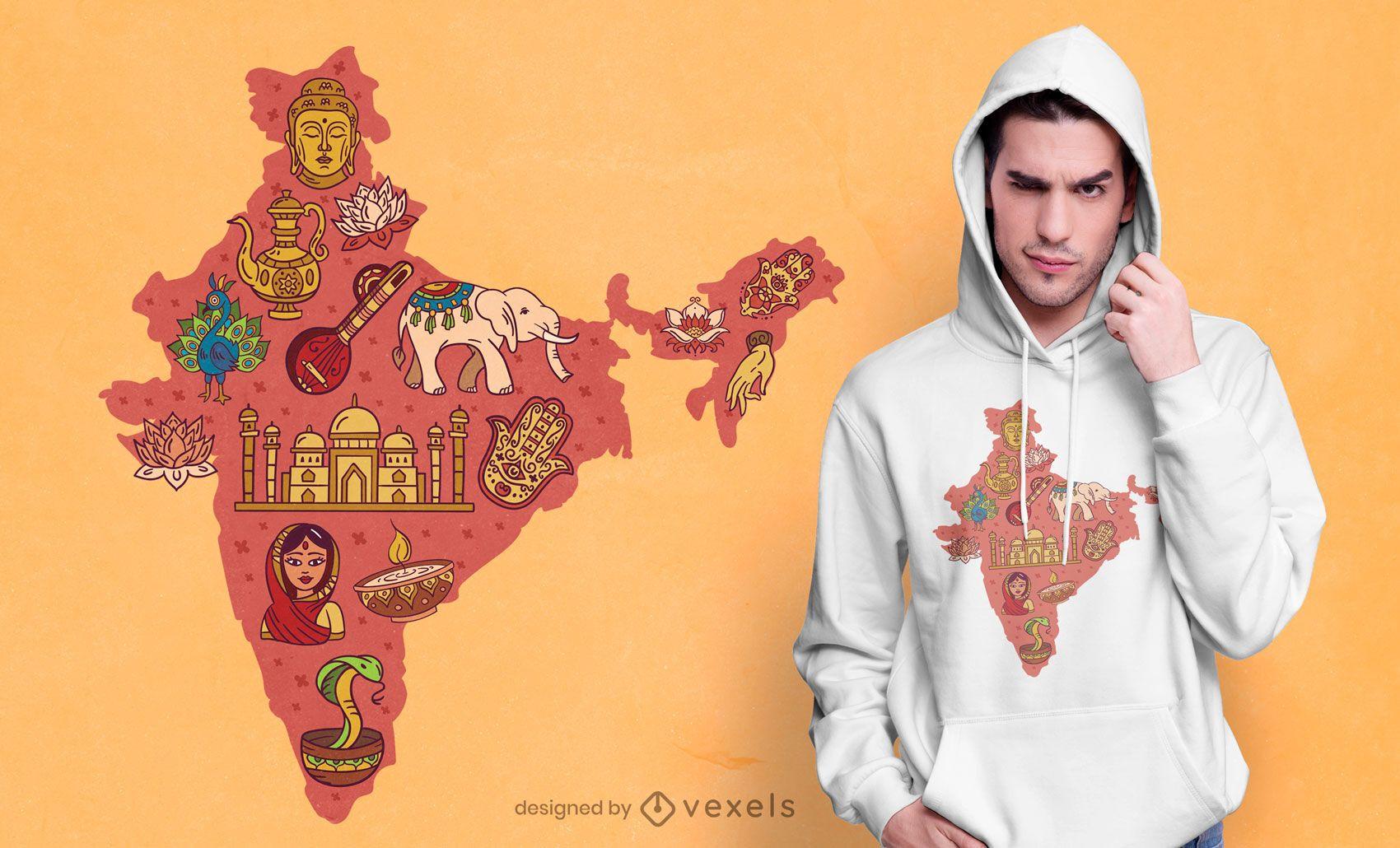 Indien Karte T-Shirt Design