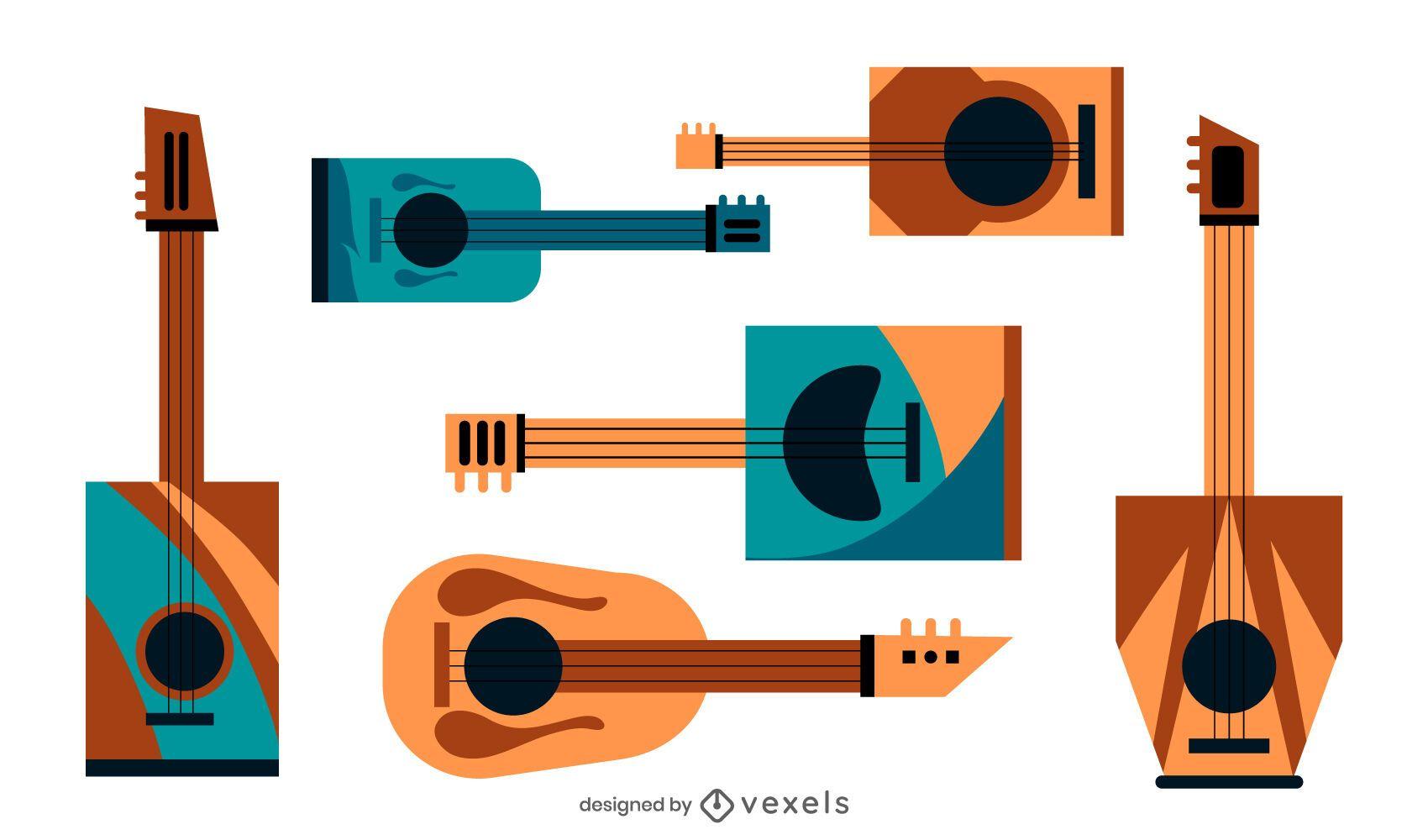Conjunto de guitarra caixa de charuto