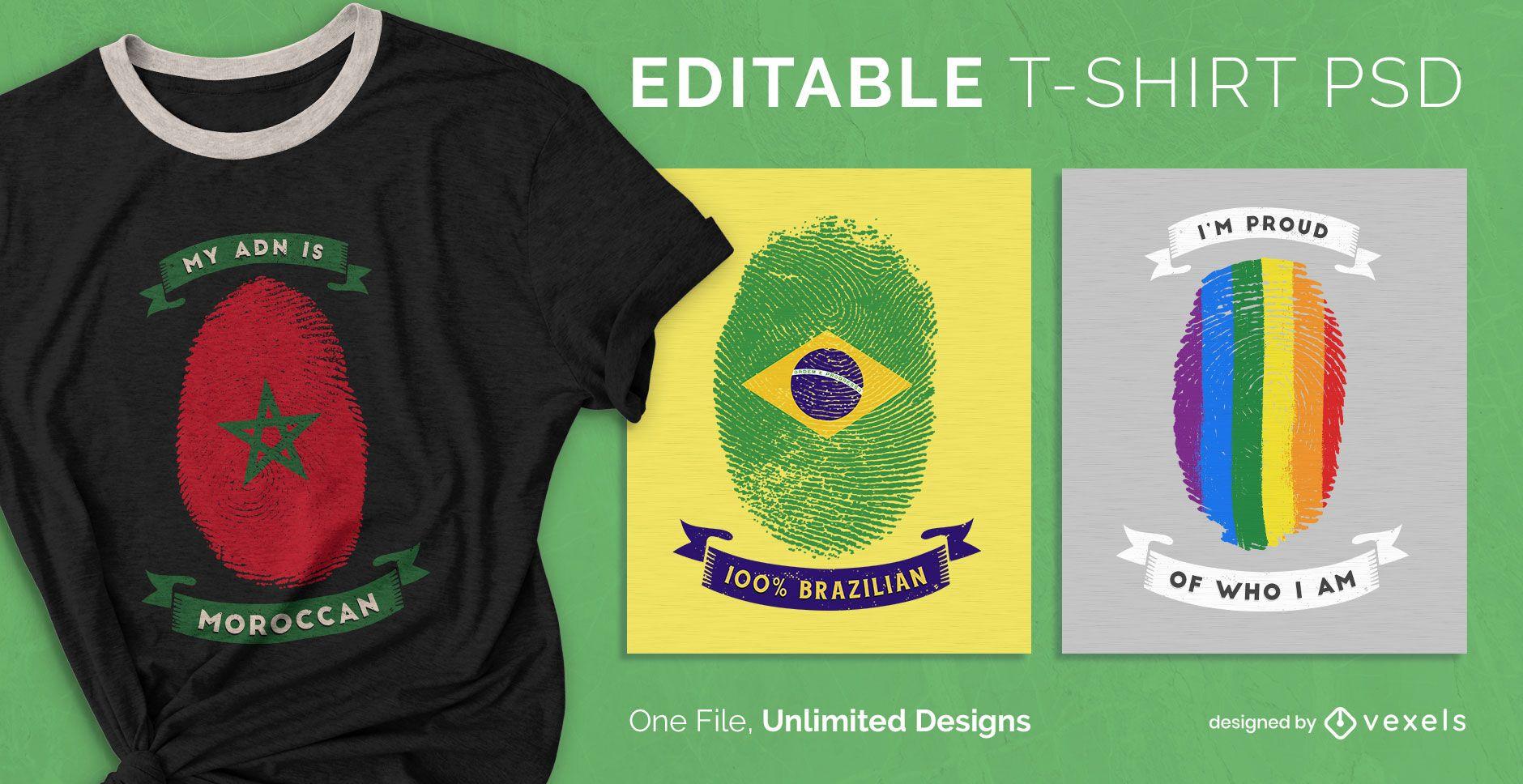 Camiseta escalable huella digital psd