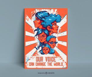 Orange Frauen-Tagesplakat