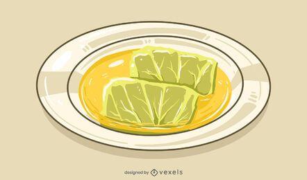 Cabbage roll illustration