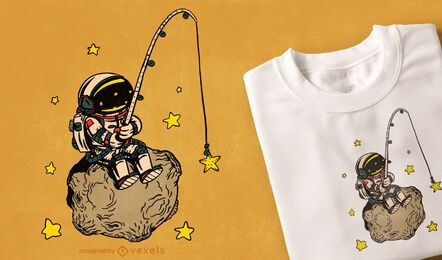 Astronaut fishing t-shirt design