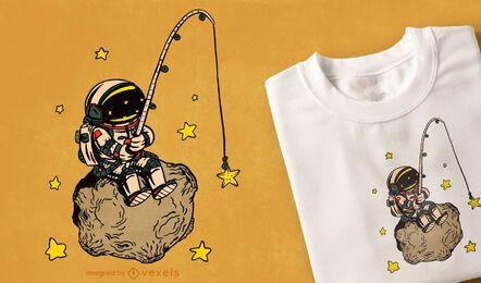 Design de camiseta de pesca de astronauta