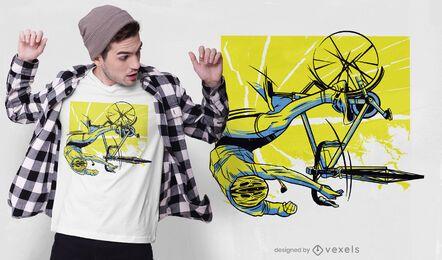 Design de camiseta para acidente de motociclista