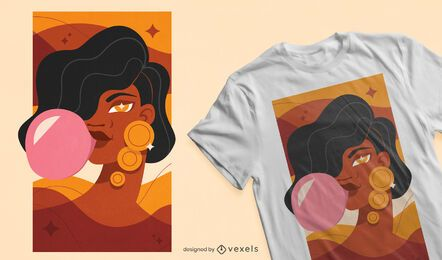 Bubblegum girl design for t-shirt