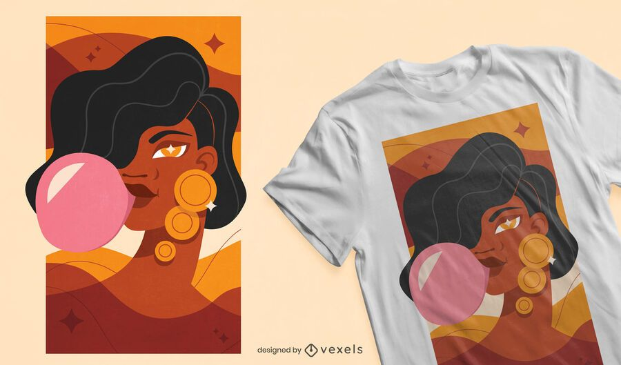 Diseño de niña Bubblegum para camiseta.