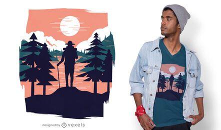 Diseño de camiseta de paisaje de senderismo.