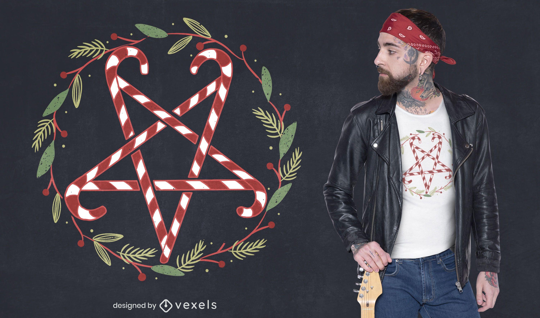 Diseño de camiseta de pentagrama de bastón de caramelo