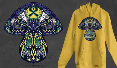 Diseño de camiseta de hongos trippy