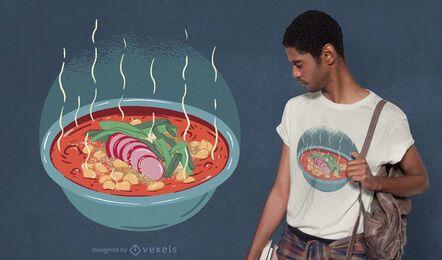 Diseño de camiseta de plato de pozole