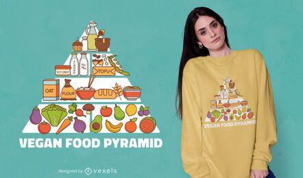 Diseño de camiseta de pirámide alimenticia vegana