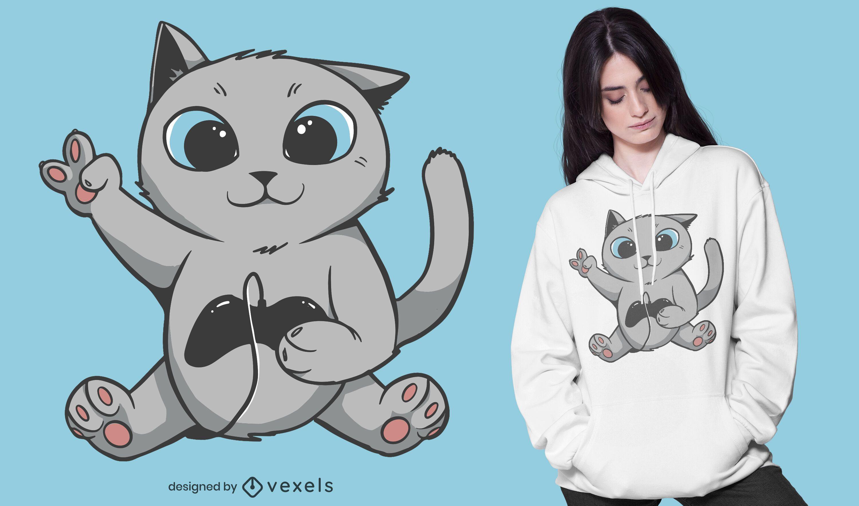 Diseño de camiseta gamer cat
